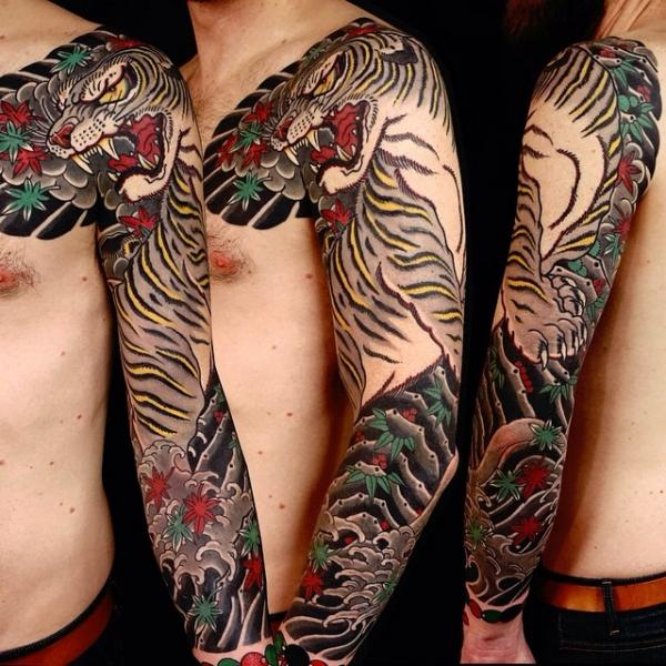 Japanese Tiger Sleeve Tattoo by Invisible Nyc
