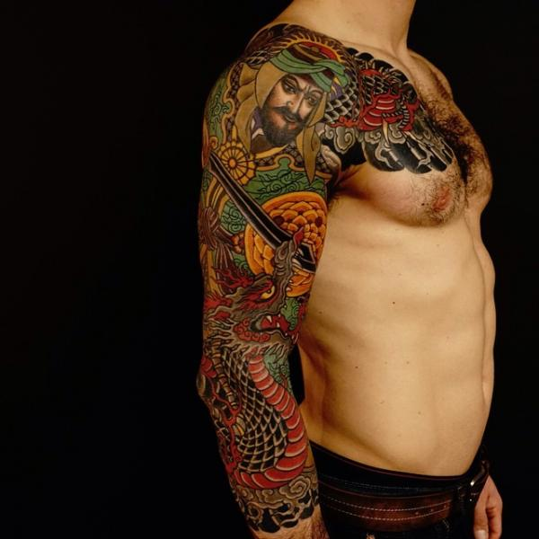 Shoulder Japanese Samurai Dragon Sleeve Tattoo by Invisible Nyc