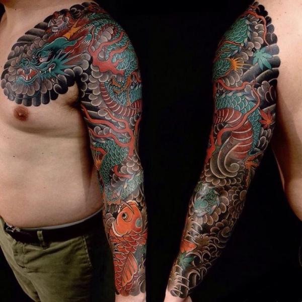 Shoulder Japanese Carp Dragon Sleeve Tattoo by Invisible Nyc
