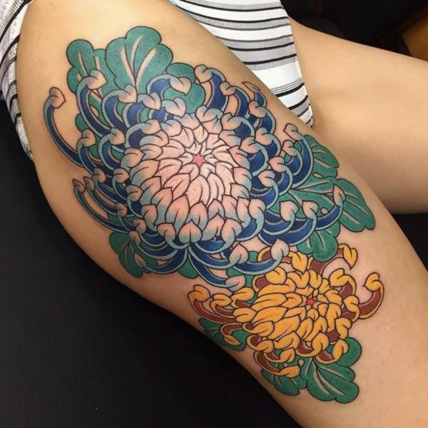 Flower Japanese Thigh Tattoo by Invisible Nyc