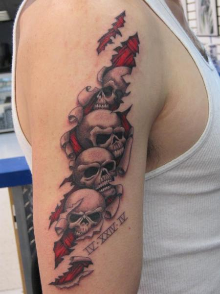 Arm Skull Tattoo by Inxon Tattoo