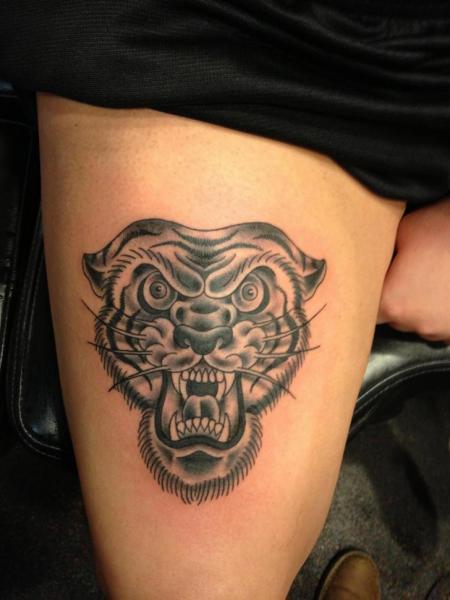 Old School Leg Tiger Tattoo by Iron Age Tattoo