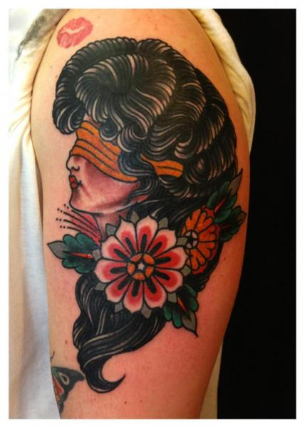 Shoulder Blind Gypsy Tattoo by Iron Age Tattoo