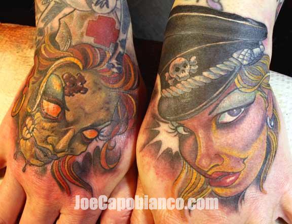 Women Hand Tattoo by Joe Capobianco