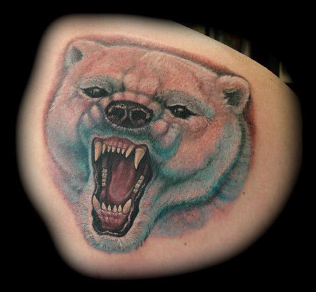 Realistic Bear Tattoo by Jon Dredd