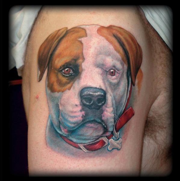 Shoulder Realistic Dog Tattoo by Jon Dredd