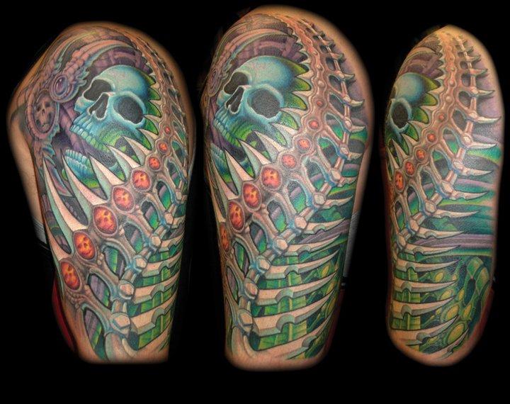 Shoulder Skull Tattoo by Jon Dredd