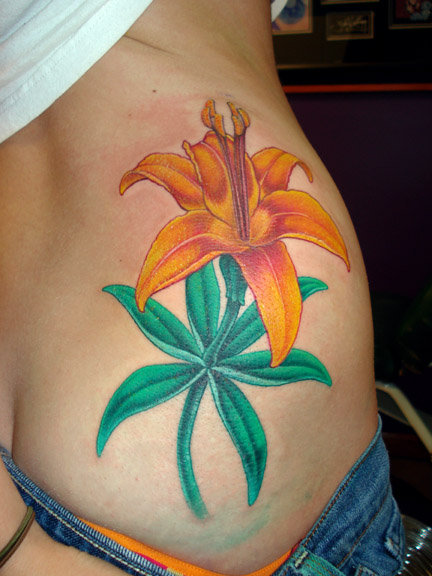 Realistic Flower Side Tattoo by Jon Dredd