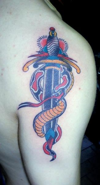 Shoulder Old School Dagger Tattoo by JP Rodrigues