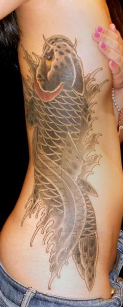 Side Japanese Carp Tattoo by JP Rodrigues