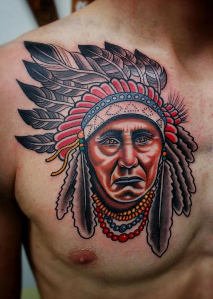 Chest Indian Tattoo by Little Vinnies Tattos