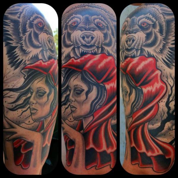 Old School Wolf Little Red Tattoo by Little Vinnies Tattos
