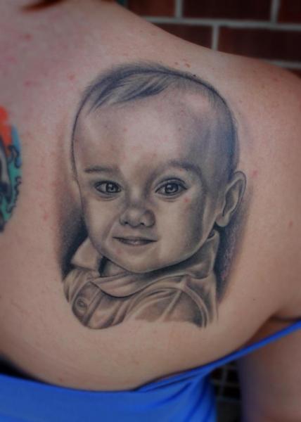 Shoulder Portrait Tattoo by Little Vinnies Tattos
