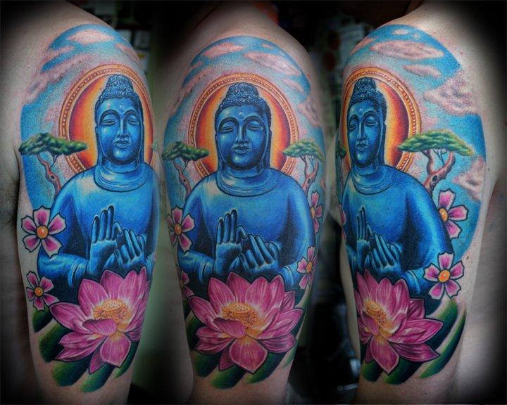 Shoulder Buddha Religious Tattoo by Little Vinnies Tattos