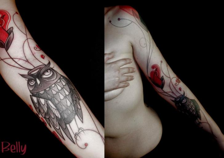 Arm Old School Owl Tattoo by Belly Button Tattoo Shop