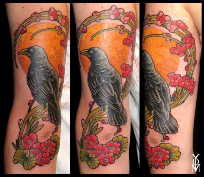 Arm Raven Tattoo by Belly Button Tattoo Shop