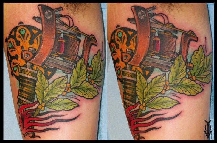Arm Realistic Tattoo Machine Tattoo by Belly Button Tattoo Shop