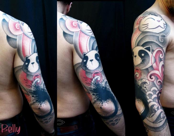 Shoulder Arm Panda Tattoo by Belly Button Tattoo Shop