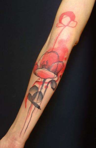 Arm Flower Water Color Poppy Tattoo by Belly Button Tattoo Shop