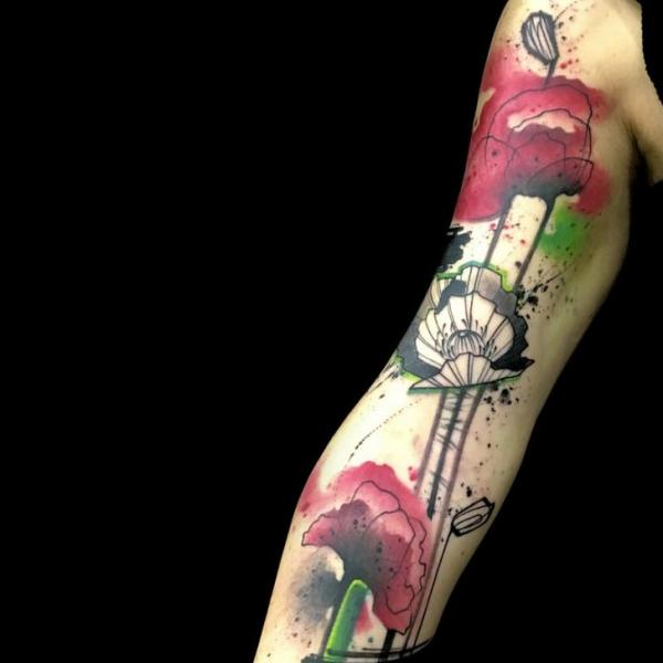 Arm Flower Water Color Tattoo by Belly Button Tattoo Shop