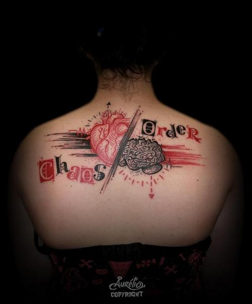 Lettering Back Tattoo by Belly Button Tattoo Shop