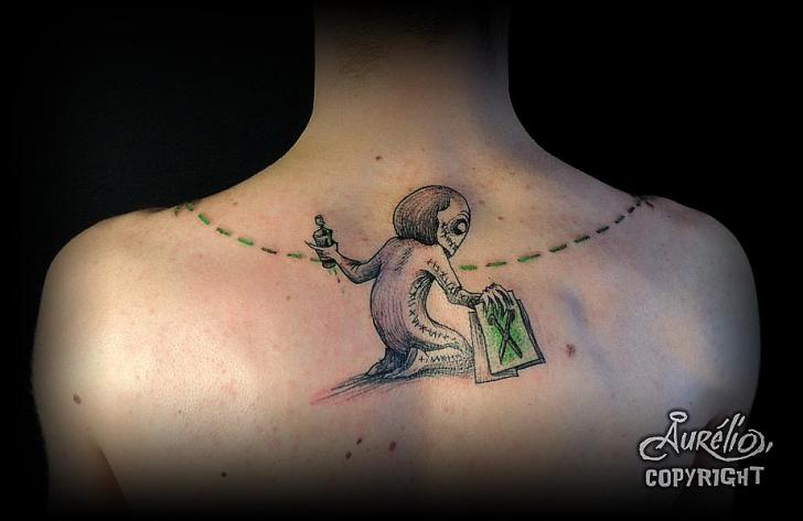 Fantasy Neck Tattoo by Belly Button Tattoo Shop