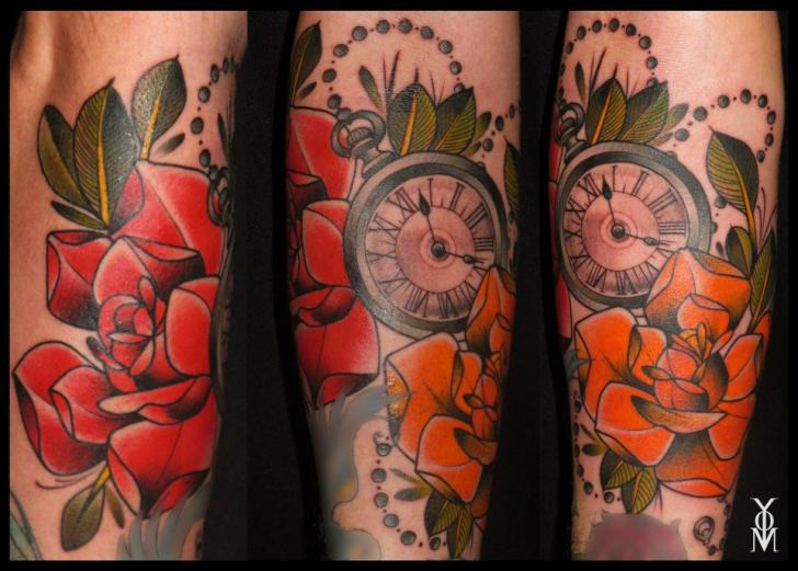 Clock Old School Flower Tattoo by Belly Button Tattoo Shop