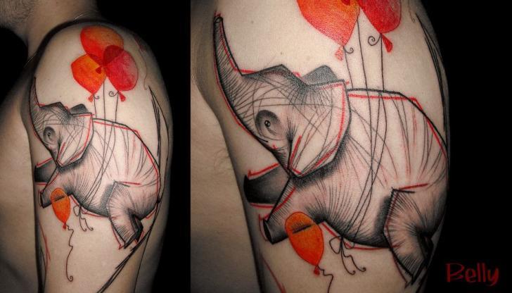Tatuaggio Spalla Fantasy Elefante di Belly Button Tattoo Shop