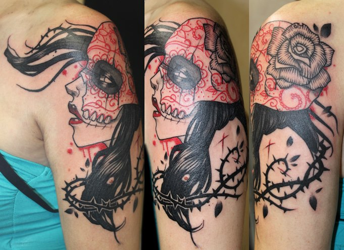 Shoulder Mexican Skull Tattoo by Belly Button Tattoo Shop