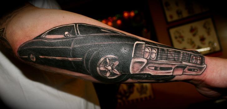 Arm Realistic Car Tattoo by Lone Wolf Tattoo