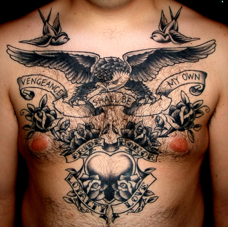 Chest Eagle Tattoo by Lone Wolf Tattoo
