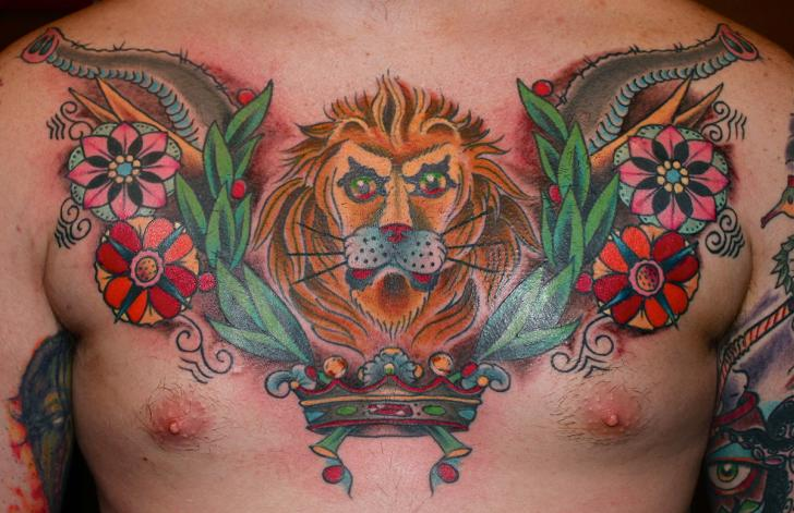 New School Chest Lion Tattoo by Lone Wolf Tattoo