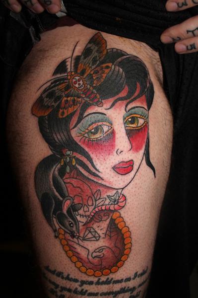 Old School Gypsy Thigh Tattoo by Lone Wolf Tattoo