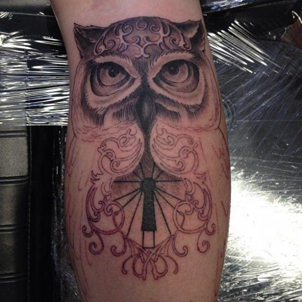 Arm Owl Tattoo by Lucky Bamboo Tattoo