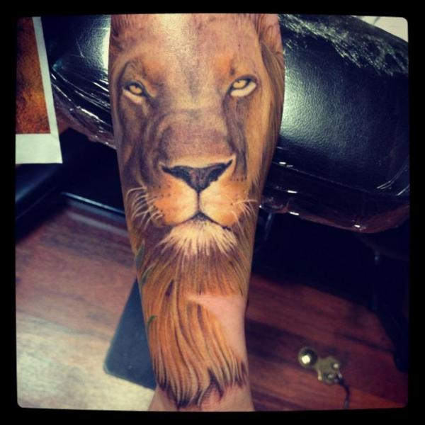 Arm Realistic Lion Tattoo by Lucky Bamboo Tattoo