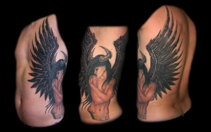 Fantasy Side Women Wings Tattoo by Lucky Bamboo Tattoo