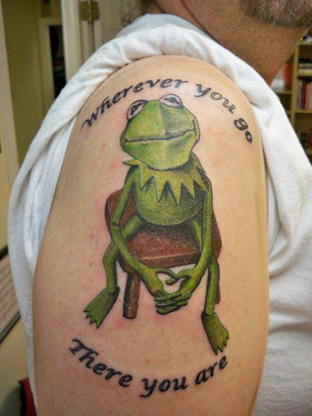 Shoulder Fantasy Character Frog Tattoo by Lucky Draw Tattoos