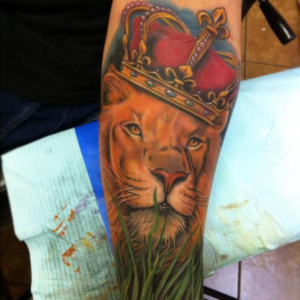 Arm Realistic Lion Crown Tattoo by Mike DeVries Tattoos