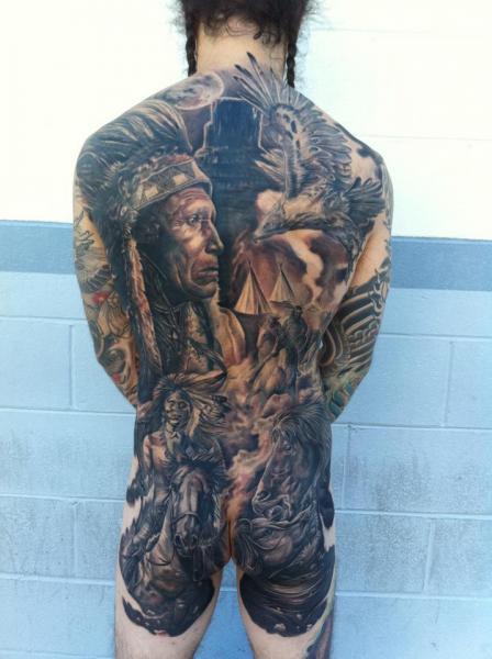 Realistische Rücken Po Indisch Pferd Landschaft Tattoo von Mike DeVries Tattoos