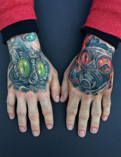 Fantasy Hand Mask Tattoo by Mike DeVries Tattoos