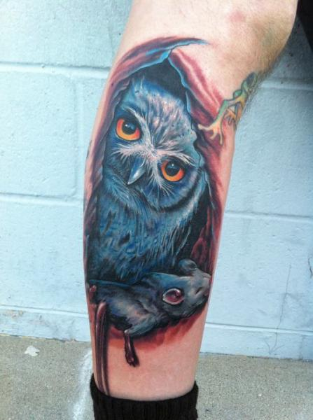 Realistic Leg Owl Tattoo by Mike DeVries Tattoos