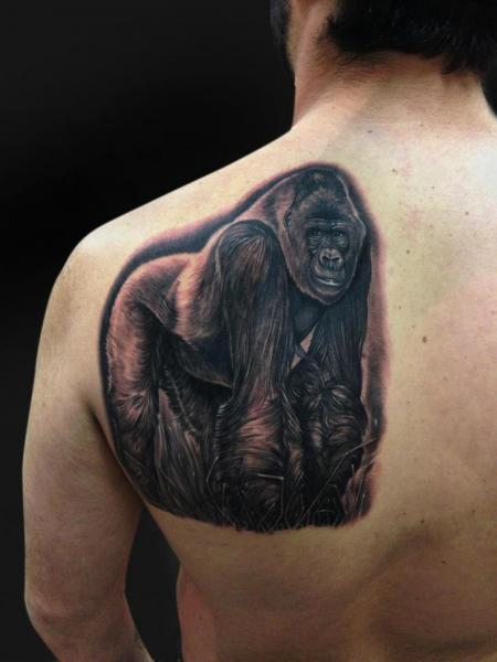 Shoulder Realistic Monkey Tattoo by Mike DeVries Tattoos