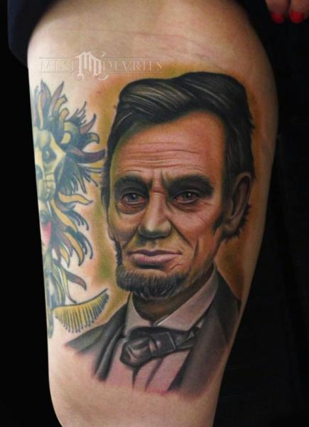 Realistic Lincoln Thigh Tattoo by Mike DeVries Tattoos