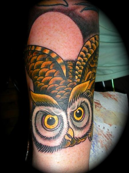Arm Old School Owl Tattoo by Memorial Tattoo