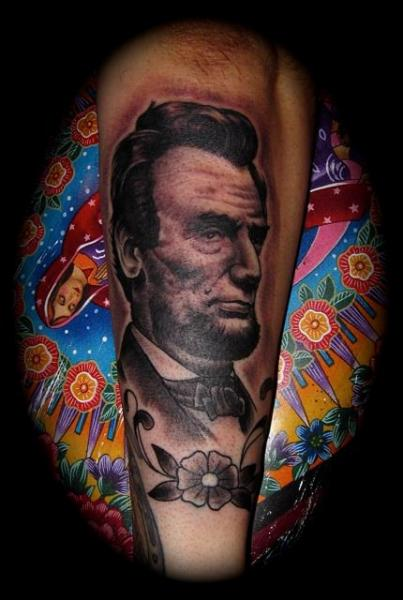 Arm Realistic Lincoln Tattoo by Memorial Tattoo
