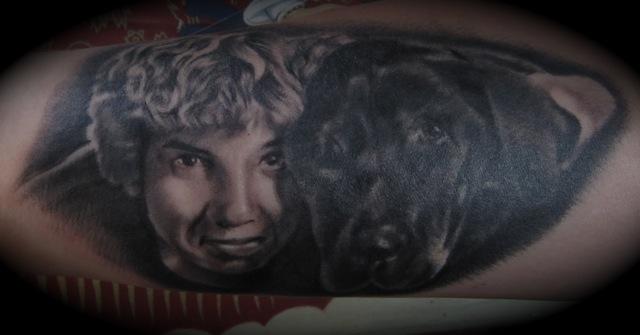 Realistic Dog Children Tattoo by Memorial Tattoo