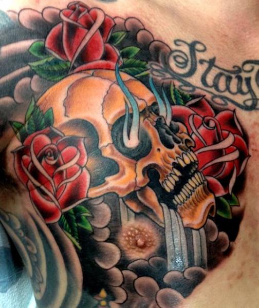 Shoulder Skull Tattoo by Memorial Tattoo