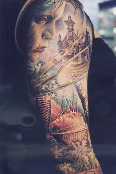 Tatuaggio Braccio Fantasy Tim Burton Pellicola di Monte Tattoo