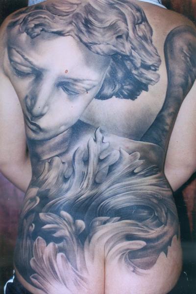 Tatuaggio Realistici Schiena Sedere Statua di Monte Tattoo