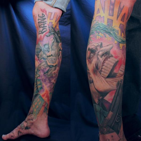 Fantasy Calf Foot Leg Batman Joker Comic Tattoo by Monte Tattoo